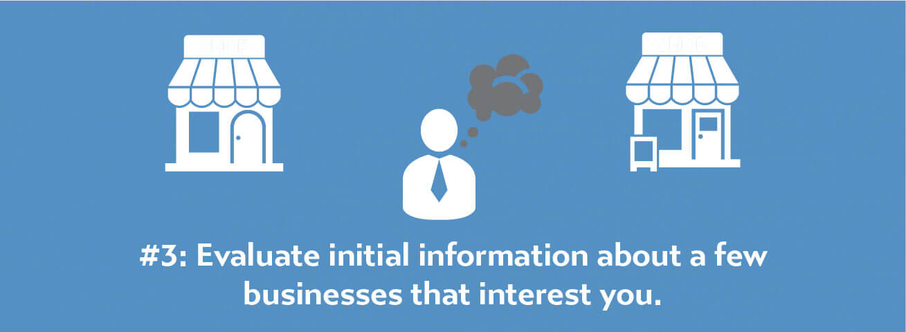 Evaluate initial information about a few businesses that interest you.