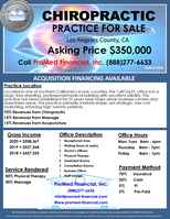 Chiropractic Practice For Sale - DC500
